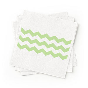 Recycled Green Patterned Cocktail Napkins - Pack of 200