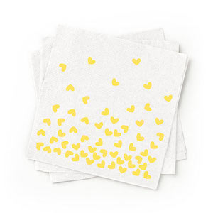 Recycled Yellow Patterned Cocktail Napkins - Pack of 200