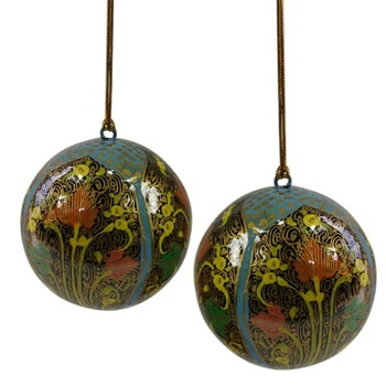 Handpainted Blue Hope Ornaments - Set of 2