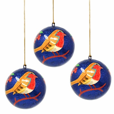 Handpainted Birds on a Branch Ornaments - Set of 2