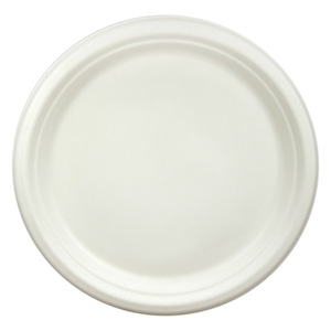 """Compostable Bagasse 10"""" White Round Plate - Pack of 50"""