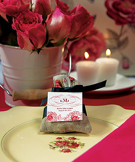 Mini Linen Drawstring Pouch with English Tea Rose Decorative Trim - Set of 12 - as low as $7.98