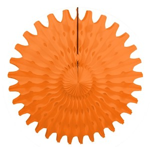 "Orange Honeycomb 18"" Tissue Fan Decoration"