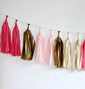 Sweetheart Tissue Paper Tassel Garland - 6' Long