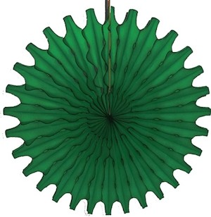 "Dark Green Honeycomb 18"" Tissue Fan Decoration"