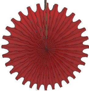 """Red Honeycomb 18"""" Tissue Fan Decoration"""