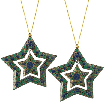 Handpainted Double Star Ornaments - Set of 2