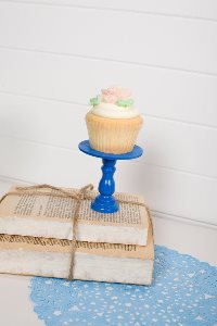 Mini Wooden Cupcake Stand - Bright Blue-only 1 available