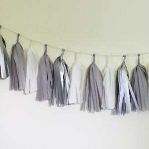 Sterling Tissue Paper Tassel Garland - 6' Long