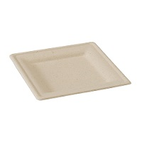 Square Brown Sugarcane Plate - 8 in. - Pack of 125