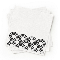 Recycled Black Patterned Cocktail Napkins - Pack of 200