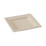 Square Natural/Brown Sugarcane Plate - 6 in. - Pack of 125