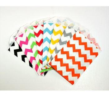 Chevron Little Paper Bags - Available in Multiple Colors