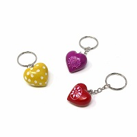 Handmade Heart Soapstone Keyrings-set of 3