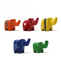 Handmade Soapstone Elephants -Set of 5