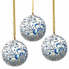 Handpainted Blue Floral Ornaments - Set of 2
