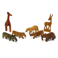 Handmade Mini Wood Safari Animals -Set of 7