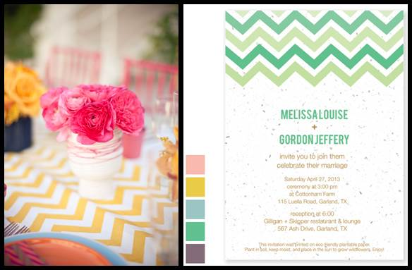 Chevron Wedding Theme Plantable Invitations