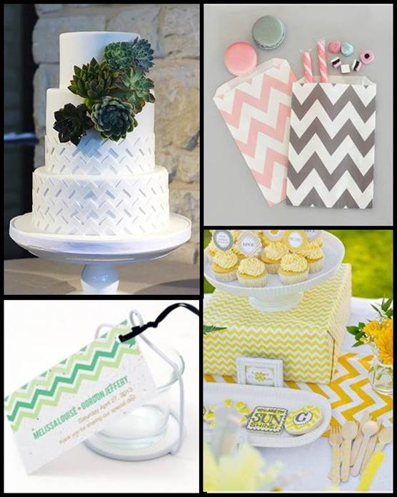 Chevron Wedding Theme Accents & Place Cards