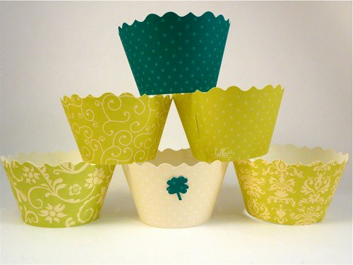 green cupcake wrapper display