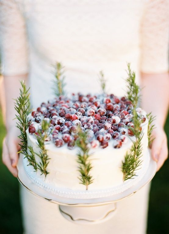 Eco-friendly Winter Wedding Themes from Ecopartytime - Cake with Cranberries