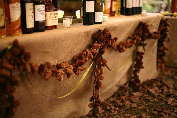 Eco-friendly Winter Wedding Themes from Ecopartytime - Pinecone Decorations